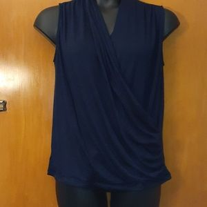 Lovely Benni Wrap Front Ruched Knit Top - Navy